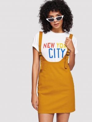 Джинсовое платье  Имбирный цвета