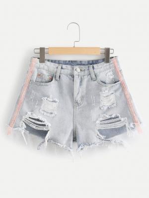 Джинсовые шорты  Серый цвета