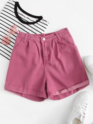 Джинсовые шорты  ярко-розовый цвета
