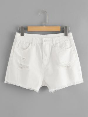 Джинсовые шорты  Белый цвета