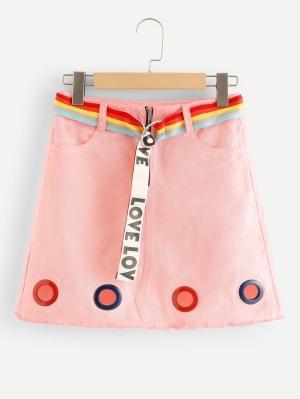 Джинсовая юбка  Розовый цвета