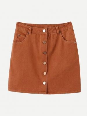 Джинсовая юбка  Желтовато бурый цвета