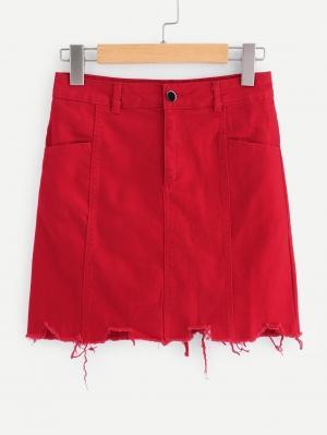 Джинсовая юбка  Красный цвета