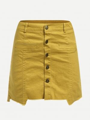 Джинсовая юбка  Имбирный цвета