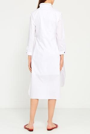 Платье-рубашка  белый цвета