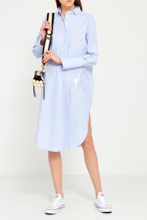 Платье-рубашка  голубой цвета