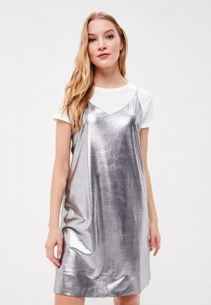 Платье  серебряный цвета