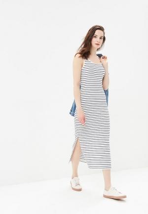 Платье  белый, синий цвета