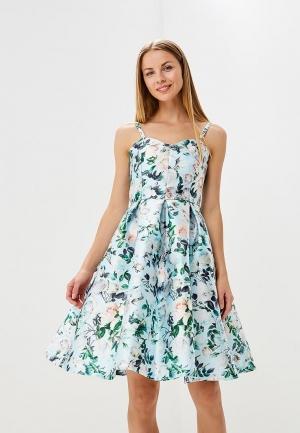Платье  голубой, мультиколор цвета