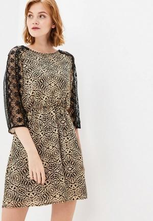 Платье  бежевый, черный цвета