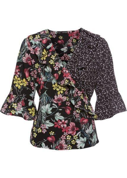 Блузка  черный/цветной с узором цвета