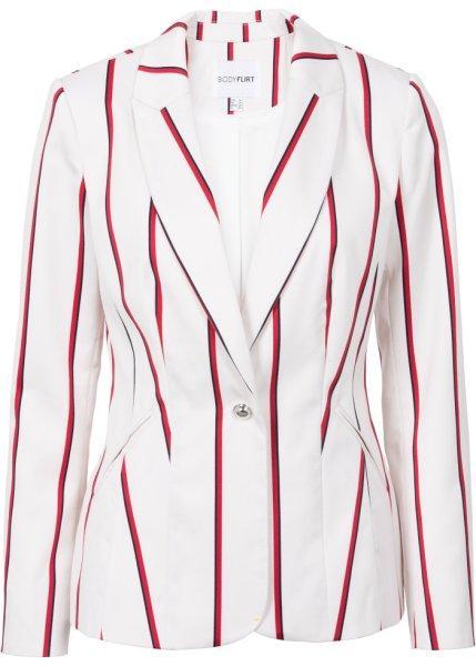 Пиджак  - цвет белой шерсти/красный/темно-синий в полоску цвет