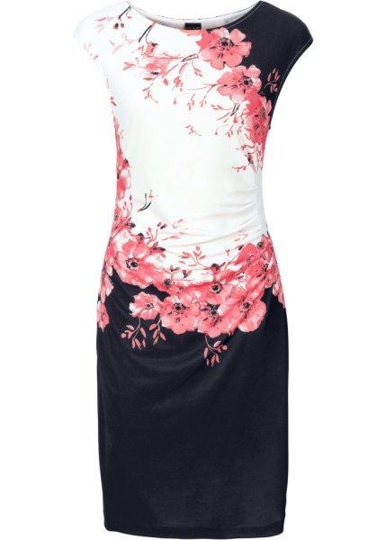 Платье  черный/коралловый с принтом цвета