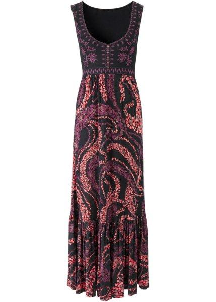 Платье  черный/коралловый цвета