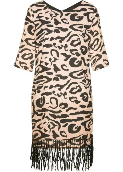 Платье  бежевый/черный с узором цвета