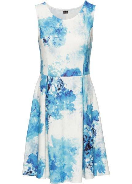 Платье  кремовый/синий/бирюзовый с рисунком цвета