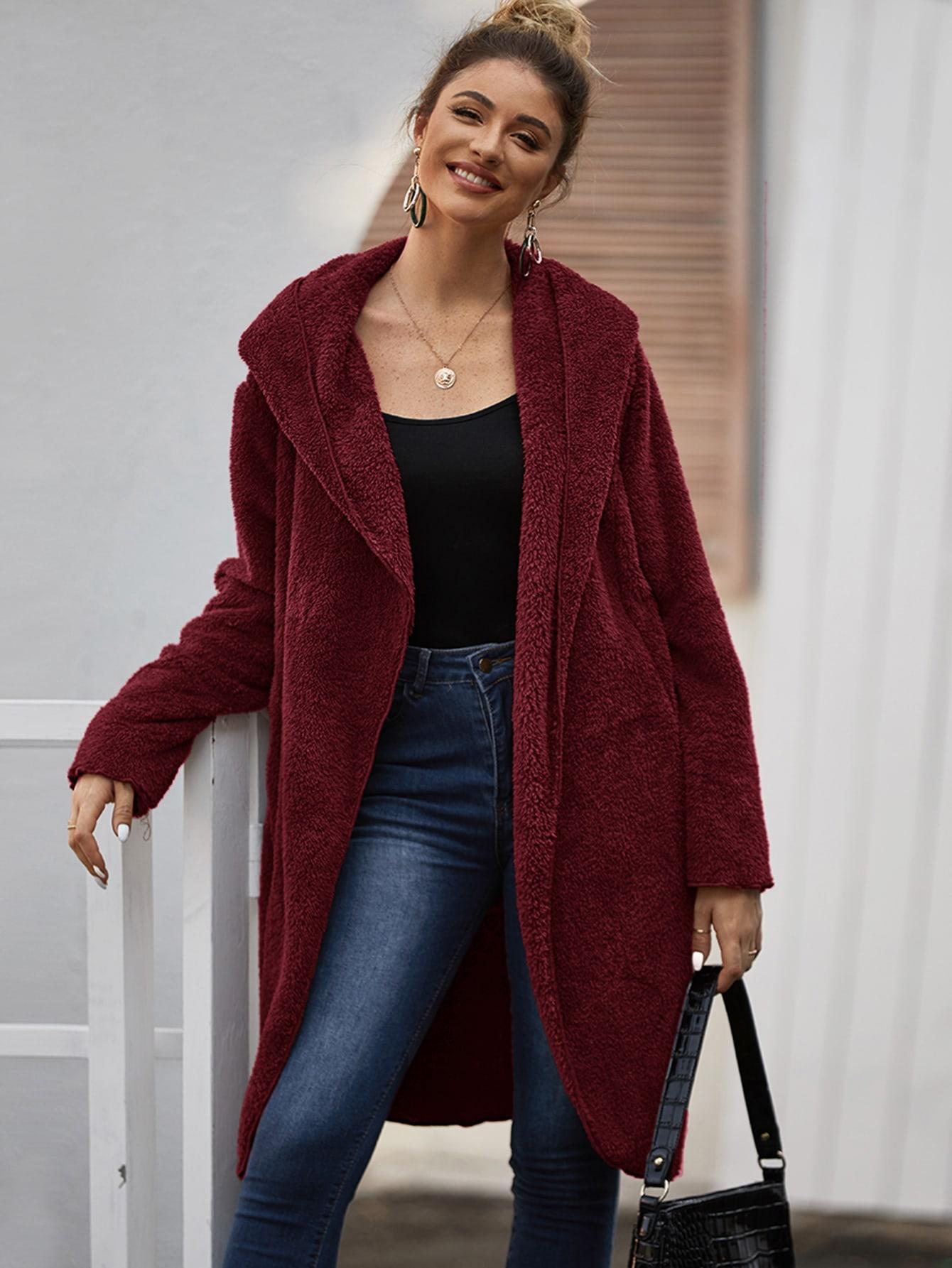 Пальто  - Бордовый цвет