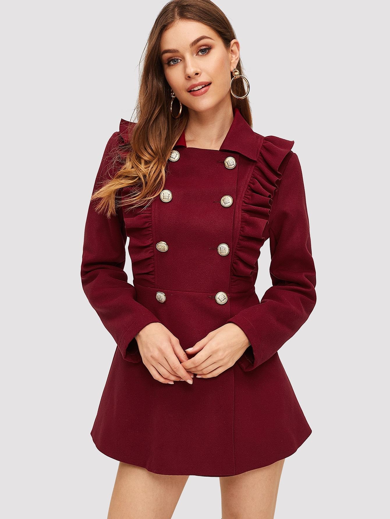 Пальто  Бордовый цвета