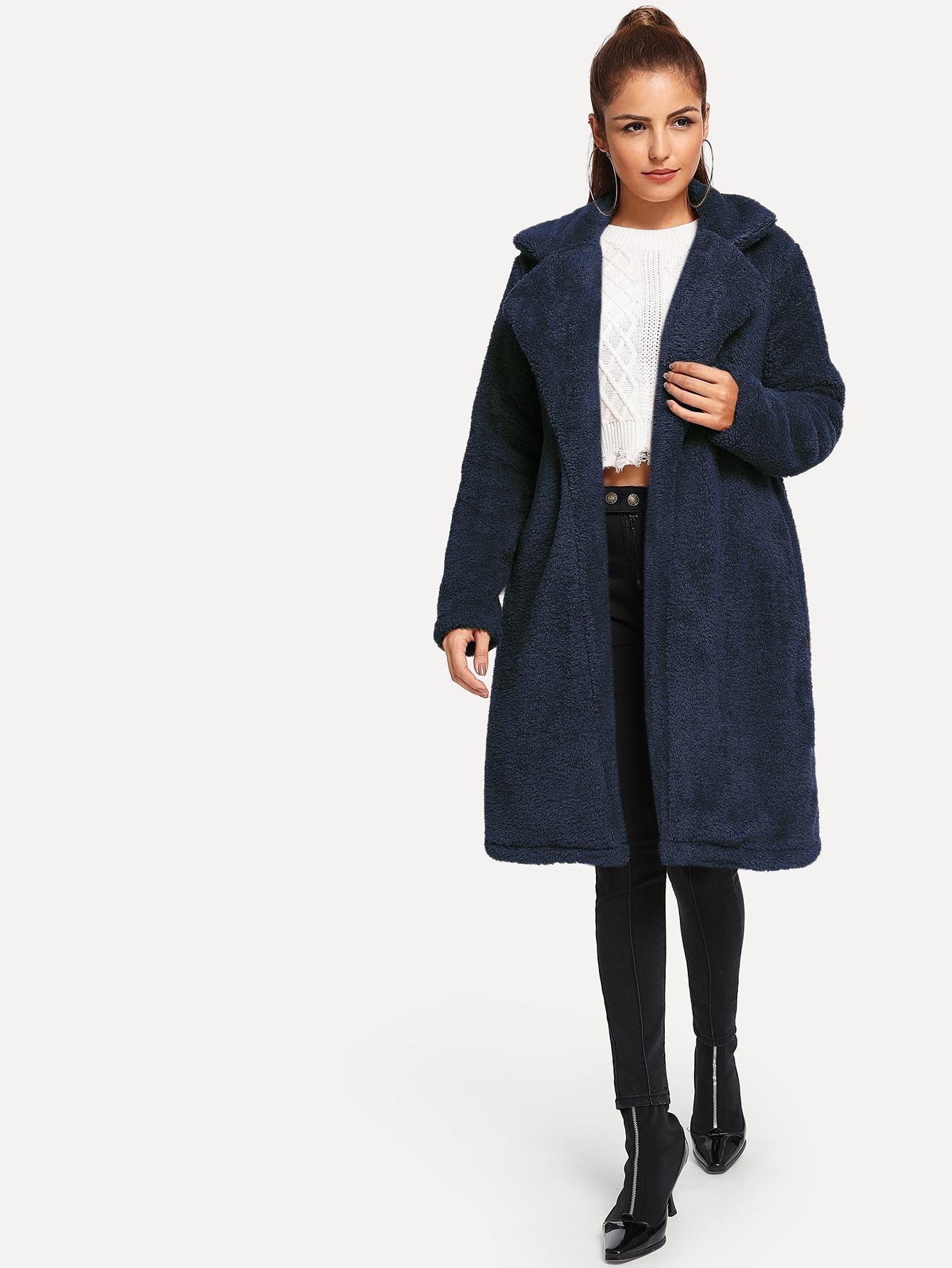 Пальто  Темно синий цвета