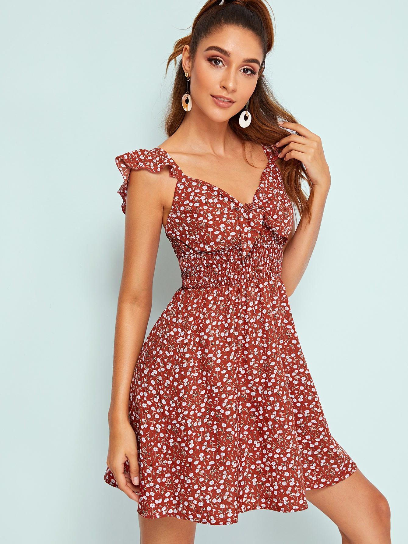 Платье  - Ржаво-коричневый цвет