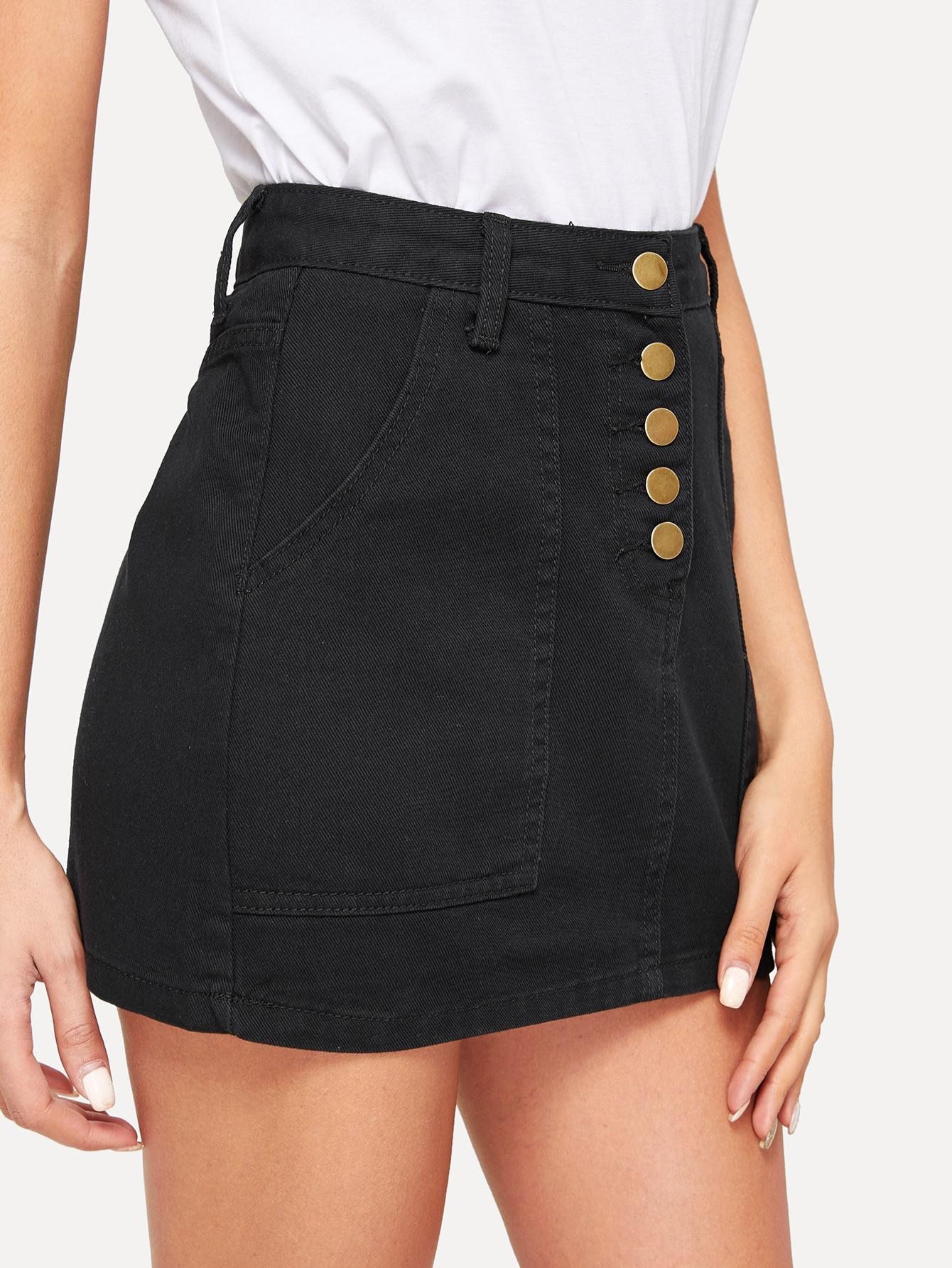 Джинсовая юбка  Черный цвета
