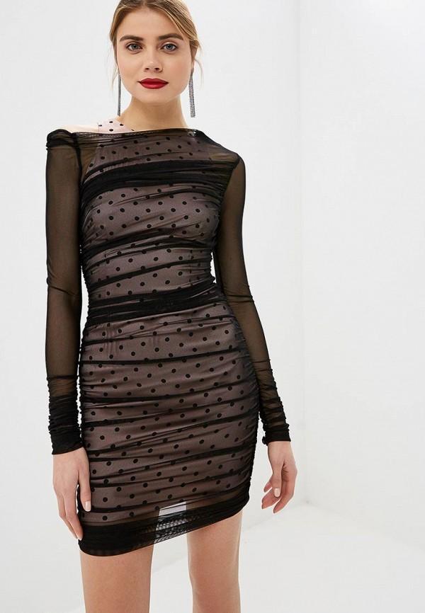 Платье  - прозрачный, розовый, черный цвет
