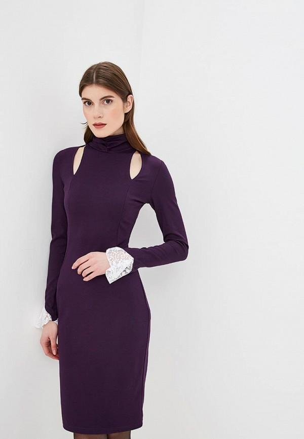 Платье  - фиолетовый, черный цвет