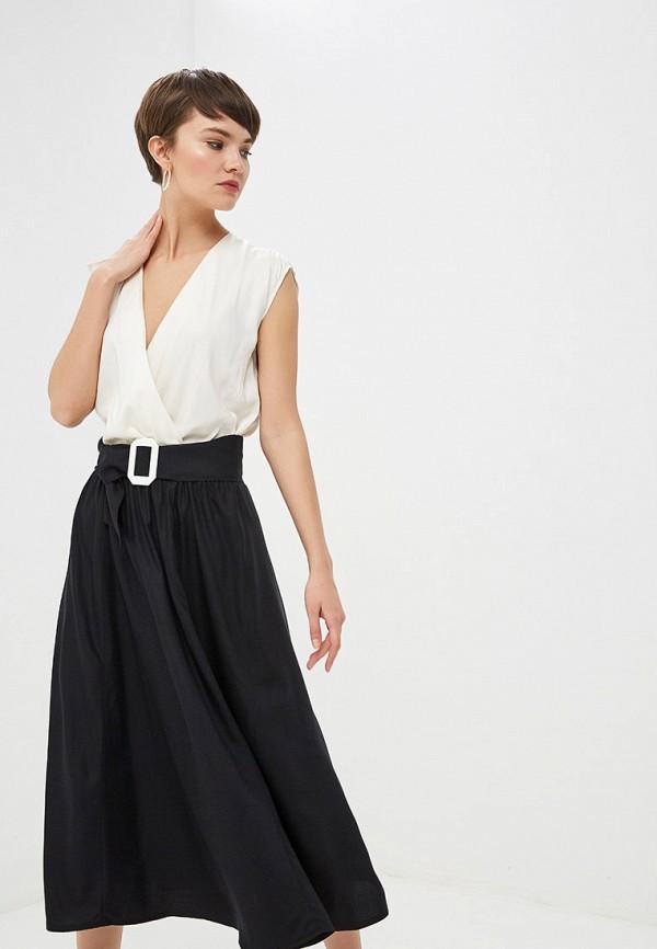 Платье  - белый, черный цвет