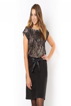 Платье  - экрю/черный цвет