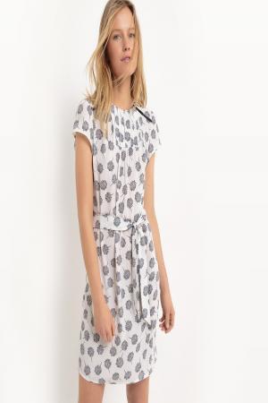 Платье  - рисунок экрю/черный цвет