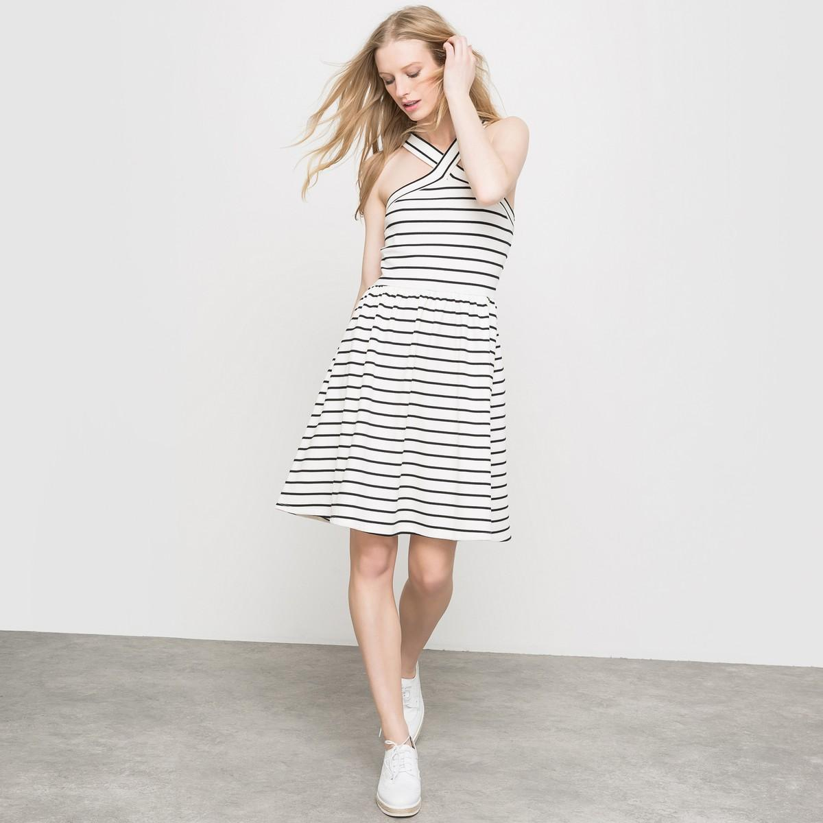Платье  - в полоску экрю/черный цвет