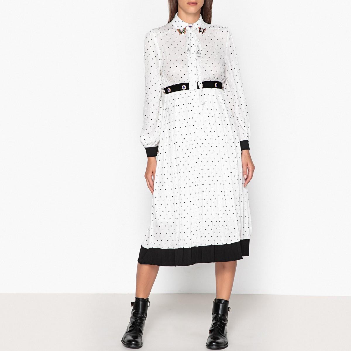 Платье  рисунок/белый цвета