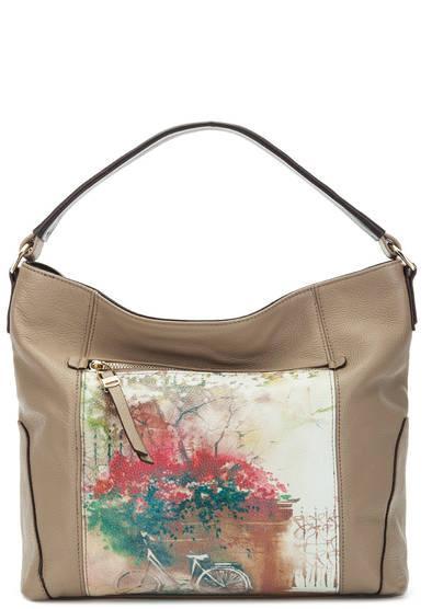 Средняя сумка  коричневый,мультиколор,цветочный принт цвета