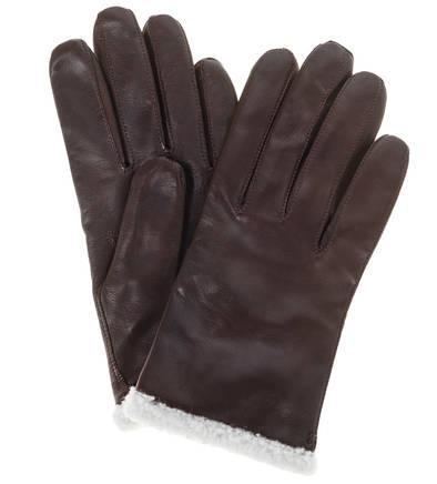 Перчатки с шерстяной подкладкой  коричневый цвета