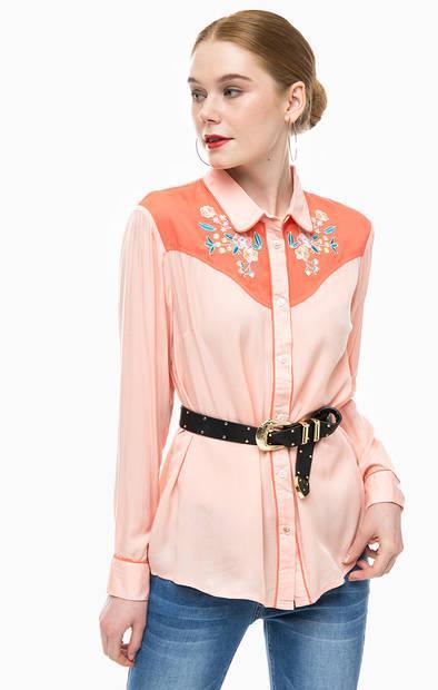 Рубашка  - коралловый,цветочный принт цвет