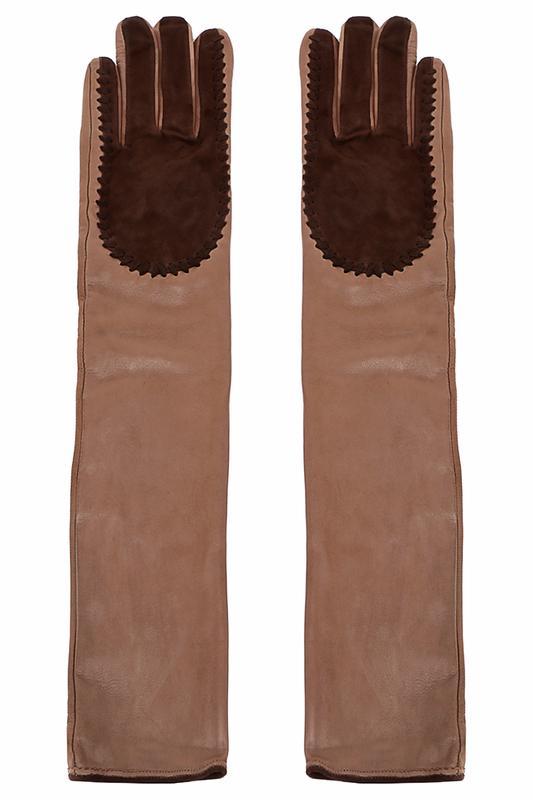 Перчатки  - Бежевый, коричневый, шелк цвет