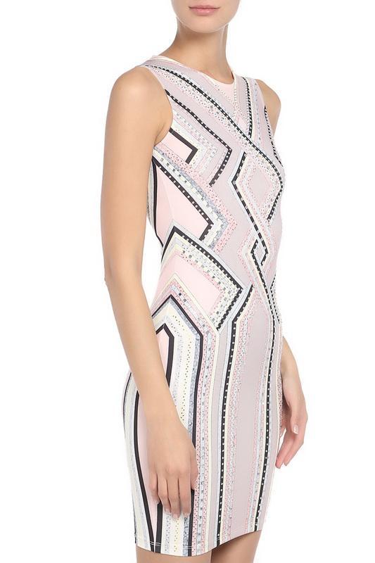 Платье  - Розовый, черный, желтый цвет