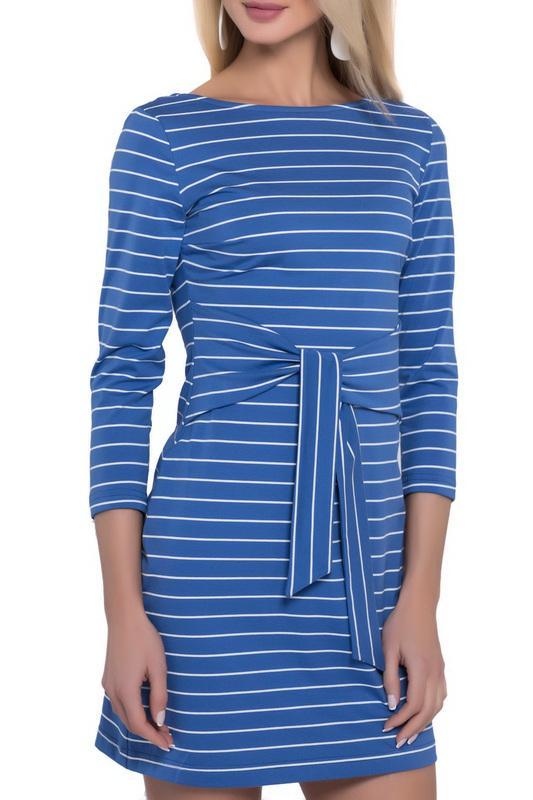 Платье  Синий, белый цвета
