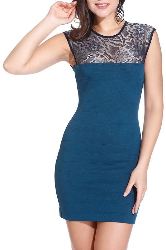 Платье  Зеленый, темно-синий, серебро цвета
