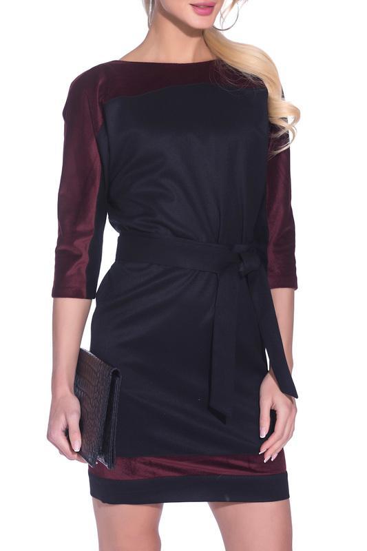 Платье  Черный, бордовый цвета