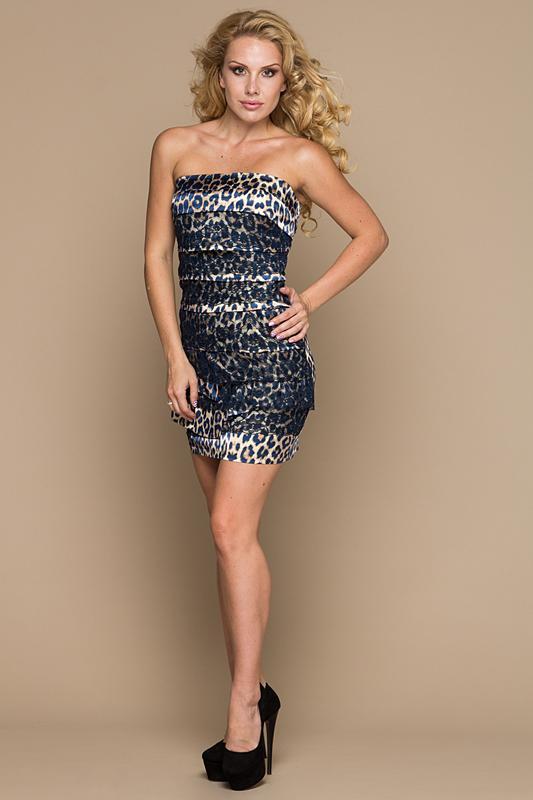 Платье  Темно-синий, леопард цвета