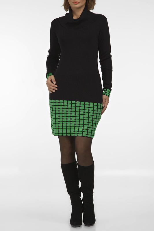 Платье  - Черный, зеленый цвет