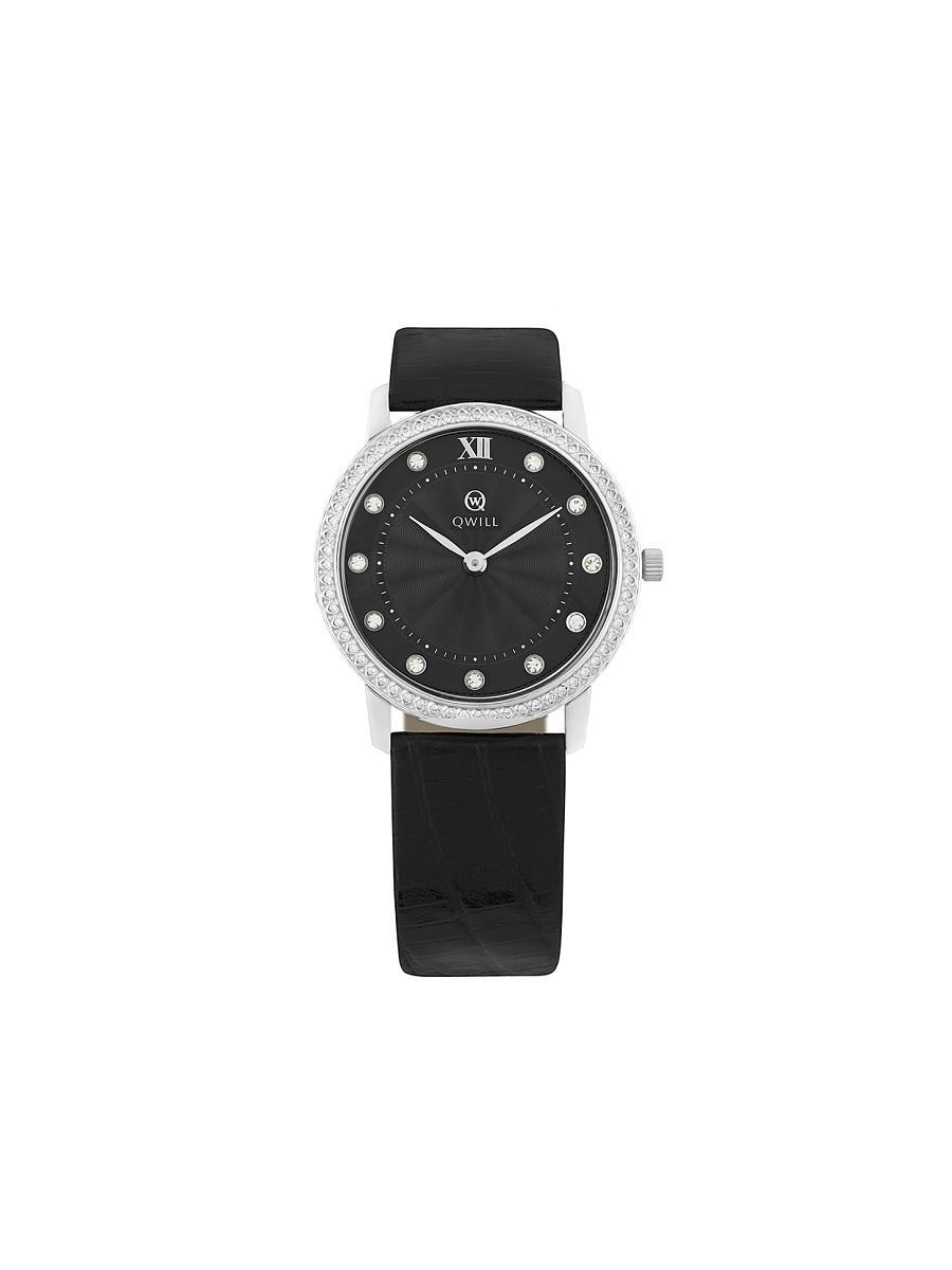 Sokolov часы на кожаном ремешке кварцевые с камнями серебряные часы коллекции feel free придадут вашему образу элегантность и индивидуальность.
