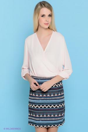 Платье  бледно-розовый, синий  цвета