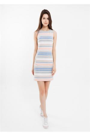 Платье  серый меланж, белый, синий  цвета