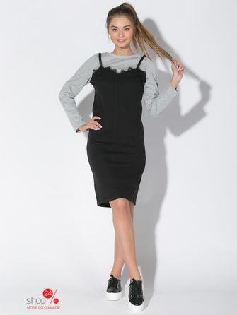 Платье  серый, черный цвета