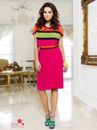 Платье  розовый, зеленый, оранжевый цвета