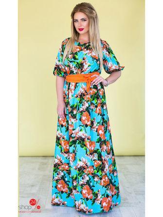 Платье  голубой, оранжевый цвета