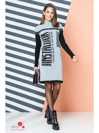 Платье  серый, черный, белый цвета