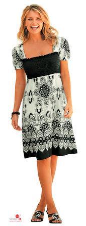 Платье  белый, черный, рисунок цвета